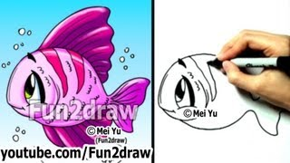 How to Draw Easy Cartoons - How to Draw a Fish - Art Lessons - Fun2draw