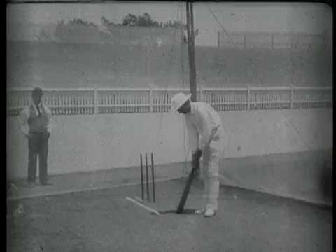 Prince Ranjitsinhji Practising Batting in the Nets (1897) - Henry Walter Barnett