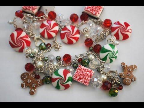 Polymer Clay Christmas Jewelry.Miniature Peppermint Tutorial Polymer Clay Food Tutorial
