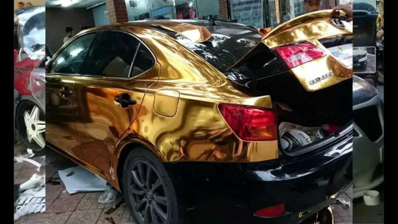 Car Gold Color Carbon Fiber Vinyl Wrap Installation 3m
