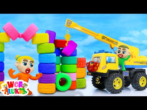 Luka And Elsa Build A Colorful Castle With Tires - Luka Learns Good Habit For Kids -WOA Luka Channel