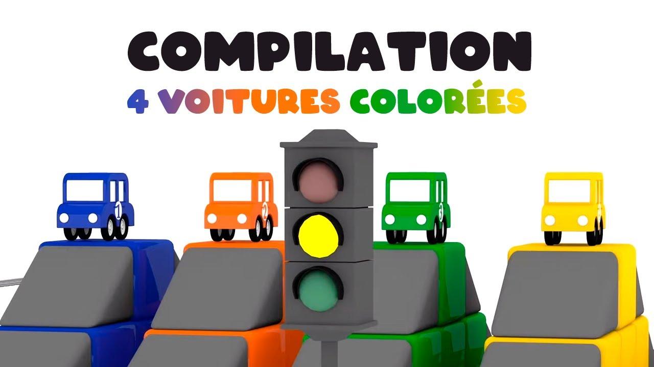 4 voitures colorees dessin anime educatif pour enfants compilation des episodes