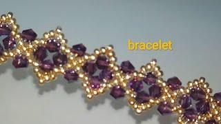 Tutorial: beaded bracelet. Браслет из бисера и биконусов. МК