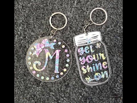 Acrylic Keychains with Glitter Sparkleberry HTV Tutorial