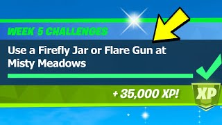 USE A FIREFLY JAR or FLARE GUN at MISTY MEADOWS Locations (Fortnite Season 3 Week 5 Challenges)