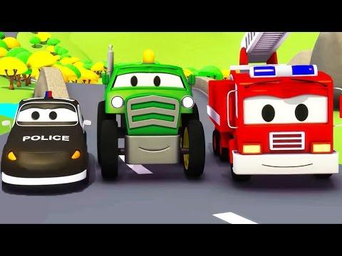 Streifenwagen Feuerwehrauto und Polizeiauto und Traktor in Car City | Lastwagen Cartoon  Kinder
