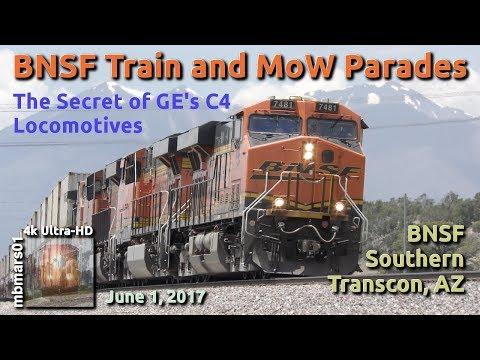 [54][4k] BNSF Train and MoW Parades & The Secret of GE's C4 Locomotives, 06/01/2017 ©mbmars01