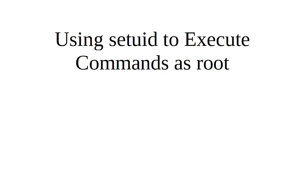 Using setuid to Execute Comman...
