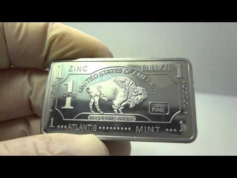 1 oz zinc buffalo bullion bar .999 fine