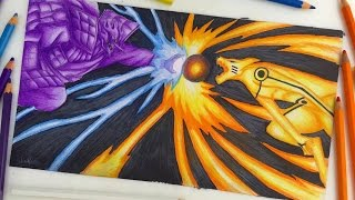 Speed Drawing - Final battle Kurama vs Susanoo (Naruto Vs Sasuke) [HD]