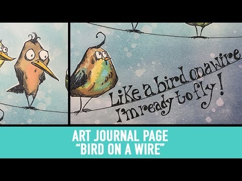 Whimsical Art Journal Page - Bird on a Wire