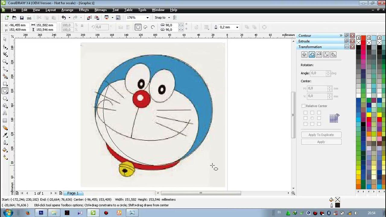 Cara Membuat Gambar Doraemon Dengan Coreldraw Youtube
