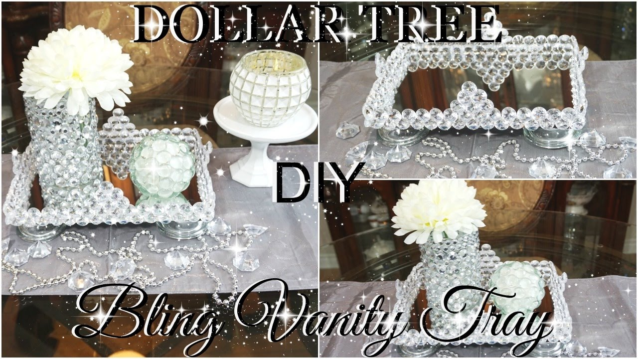 DOLLAR TREE DIY BLINGED OUT VANITY TRAY COLLABORATION WITH