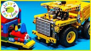 LEGO TECHNIC DUMP TRUCK CONSTRUCTION VEHICLES AND TRAINS!