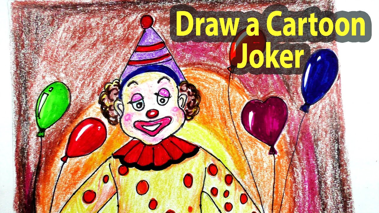 How To Draw A Cartoon Joker Step By Step  Joker Character Drawing Easy ::  Art4fun Tv  Youtube