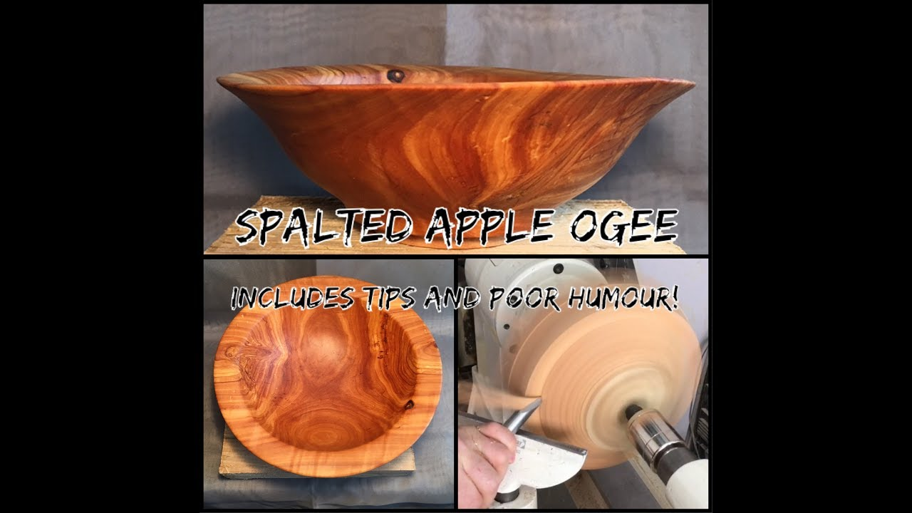 Woodturning - Spalted Apple Ogee Bowl (With Tips and Design Commentary)