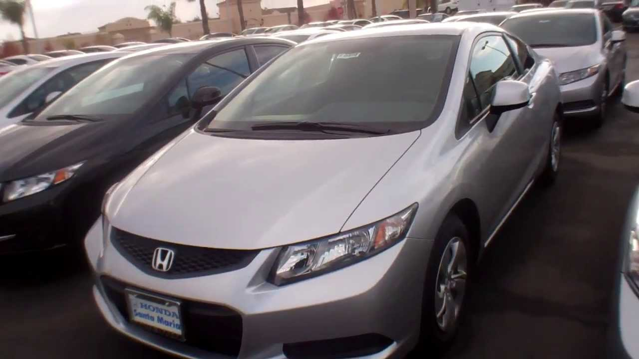 Wonderful 2013 Honda Civic LX Coupe Alabaster Silver Black Interior   YouTube