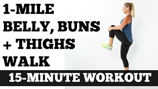 Indoor Walking at Home Low Impact Full Length Workout: 1 Mile Belly Buns and Thighs Walk