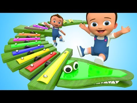 Learn Colors for Children with Baby Xylophone Balls Crocodile WoodenToy 3D Kids Learning Educational