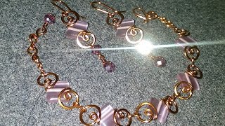 earrings and bracelet easy with square stone - DIY wire jewelry 23