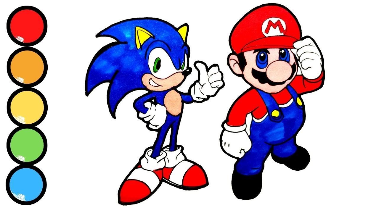 Colouring Sonic And Super Mario - YouTube