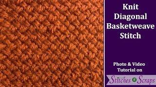 Knit Diagonal Basketweave Stitch