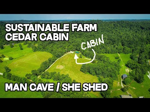 Sustainable Farm, Cabin style cedar house, 25 ac, Man Cave, She shed, Creek ideas, Prepper property