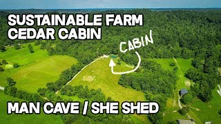 Sustainable Farm, Cabin style cedar house, 25 ac, Man Cave, She shed, Creek ideas, Land for sale