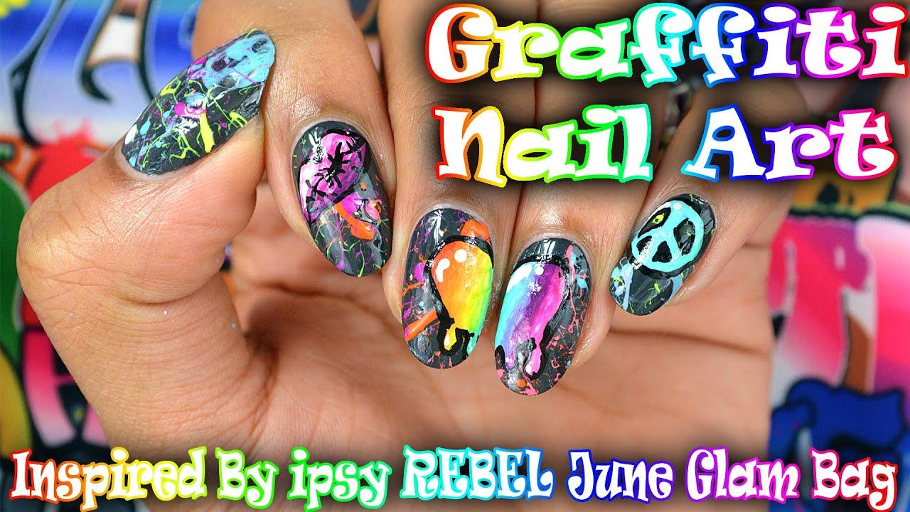 Diy Graffiti Nail Art Inspired By Ipsy June Glam Bag Youtube