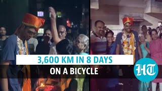 Watch: Nashik boy cycles from Kashmir to Kanyakumari in 8 days, sets record