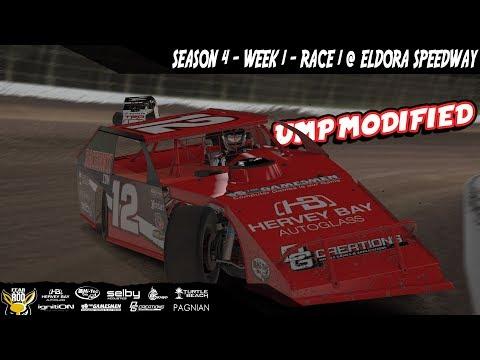 iRacing - DIRTcar UMP Modifieds S4 W1 R1 @Eldora Speedway