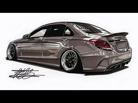 Realistic Car Drawing - Mercedes Benz W205 C-Class - Time Lapse
