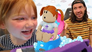 BABY ADLEY Roblox Day Care!!  Dad is the Nursery Boss! new playing, feeding, and potty training game
