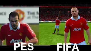 FIFA11 vs PES11 Game Faces Manchester United and Barcelona (Side by Side)
