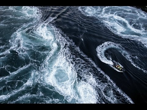 World strongest ocean current in action, Maelstrom Saltstrau