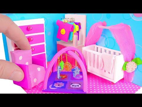 DIY Miniature Nursery Room / Baby Room, Crib, Baby Bottle