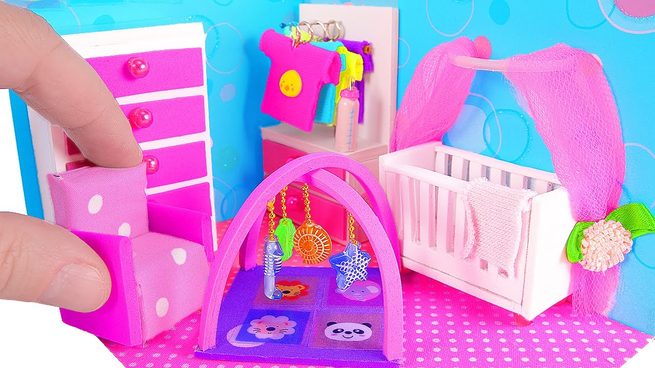 7 Inspiring Kid Room Color Options For Your Little Ones: DIY Miniature Nursery Room / Baby Room, Crib, Baby Bottle