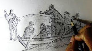 How to draw Jesus walking on sea