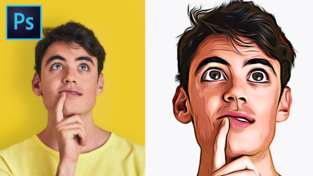 Turn Photo To Cartoon Effect Cartoonize Yourself Photoshop Tutorial Youtube
