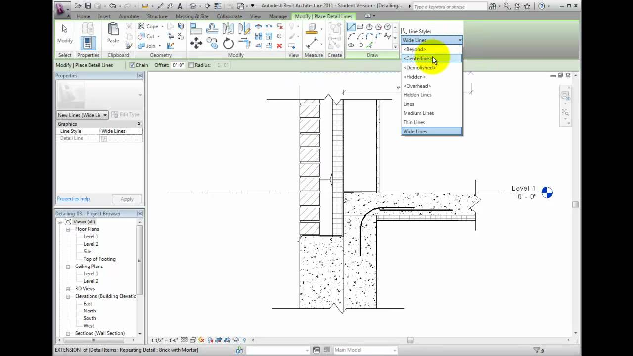 Revit architecture 2011 tutorial creating detail lines youtube.
