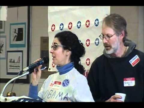 Michelle Vazquez Jacobus Robert B Both Address The Auburn Democrat Caucus