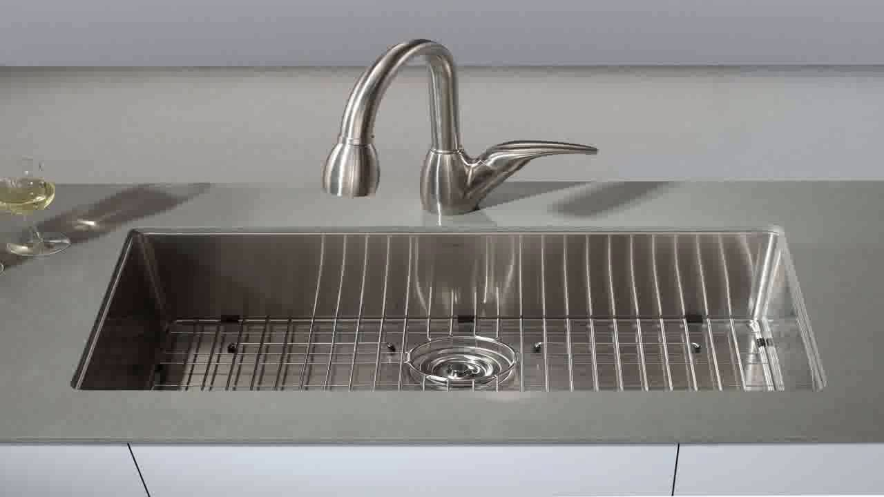 kraus 30 inch 16 gauge undermount single bowl stainless steel sink khu100 3   youtube kraus 30 inch 16 gauge undermount single bowl stainless steel sink      rh   youtube com