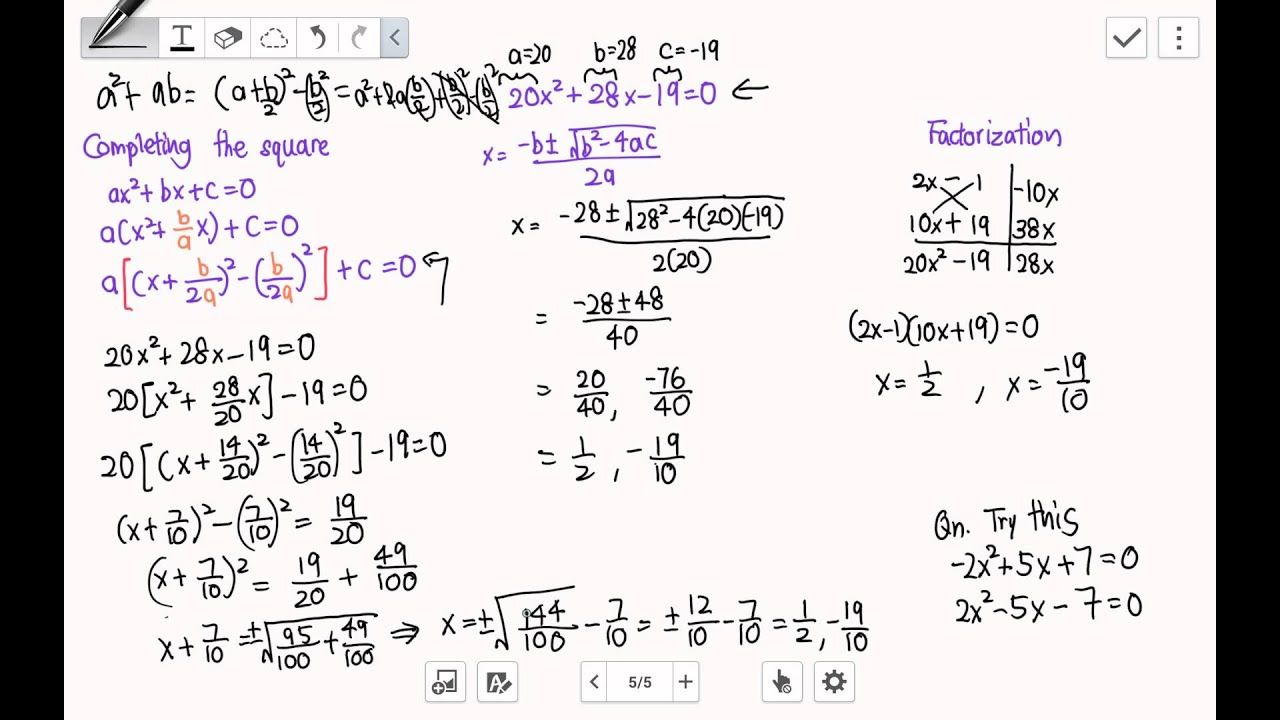 Solve Quadratic equation. Completing the square