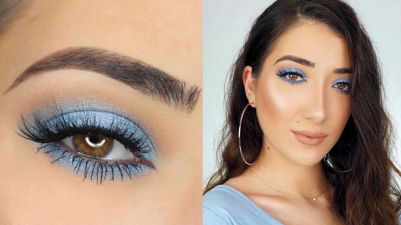 baby blue smokey eye makeup tutorial