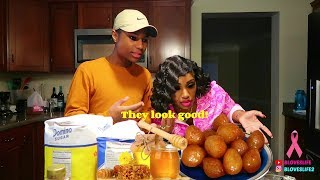 Cooking Grecian Loukoumades with Darius Disaster, Cooking @ 42min
