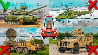Пазлы военная техника для детей. Развивающее видео для малышей. Изучаем военный транспорт