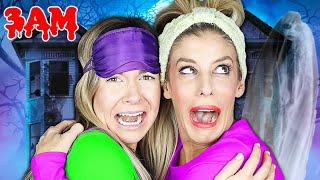 3AM Challenge at Girls Night Sleepover! (Bad Idea) Rebecca Maddie Challenges