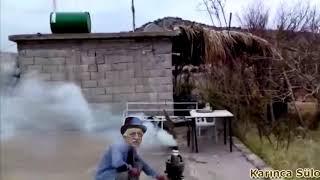 Feto semaverde cay yaparken çatıdan düşen varil komik video