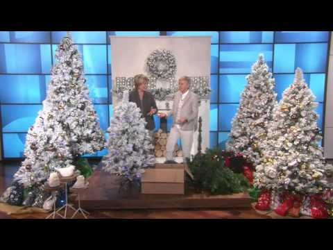 E.D. On Air 9' Flocked Sherwood Spruce Tree by Ellen DeGeneres with Carolyn Gracie