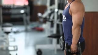 Как накачать трапеции, шраги с гантелями стоя(Классическое упражнение для трапециевидных мышц (шея), верхних мышц спины и дельтовидных мышц., 2014-05-04T11:40:07.000Z)